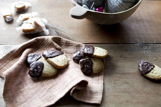 Shortbread cookies dipped in chocolate