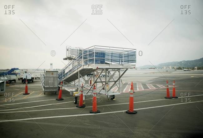 Airplane ramp on tarmac