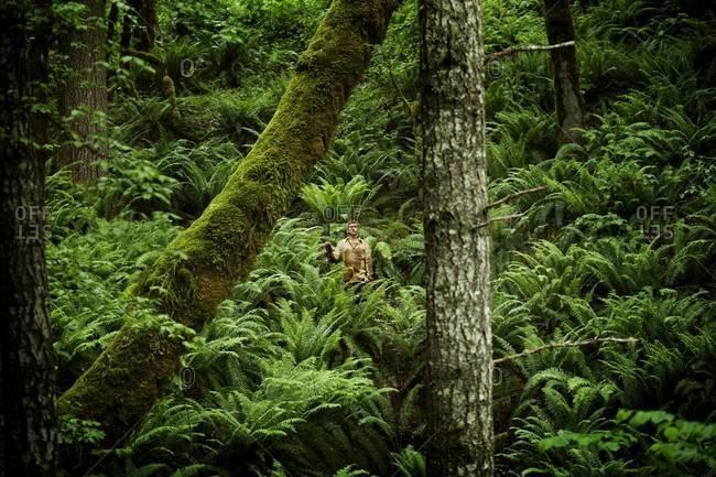 Man standing in rainforest