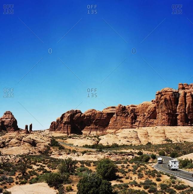 Landscape of highway through canyon