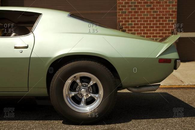 Rear half of a retro muscle car