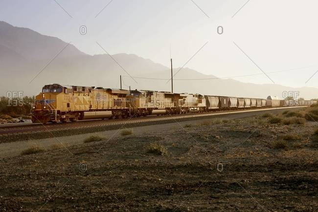 Freight train moving across the Western United States