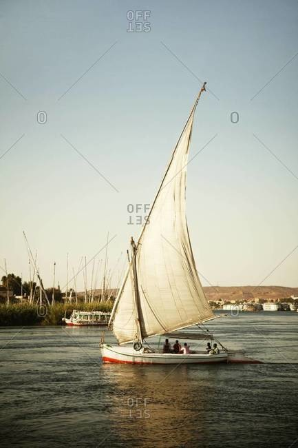 Traditional Felucca on the Nile in Aswan, Egypt