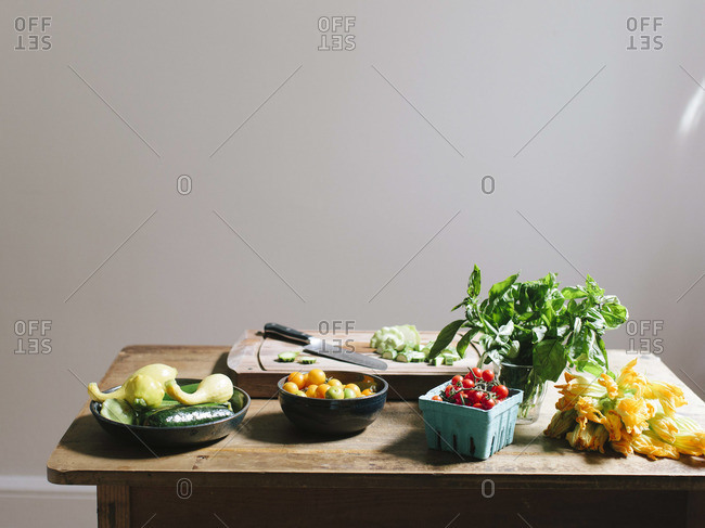 Close-up of fresh vegetables on a wooden table
