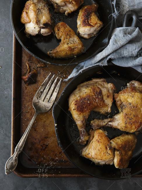 Crispy roasted chicken pieces