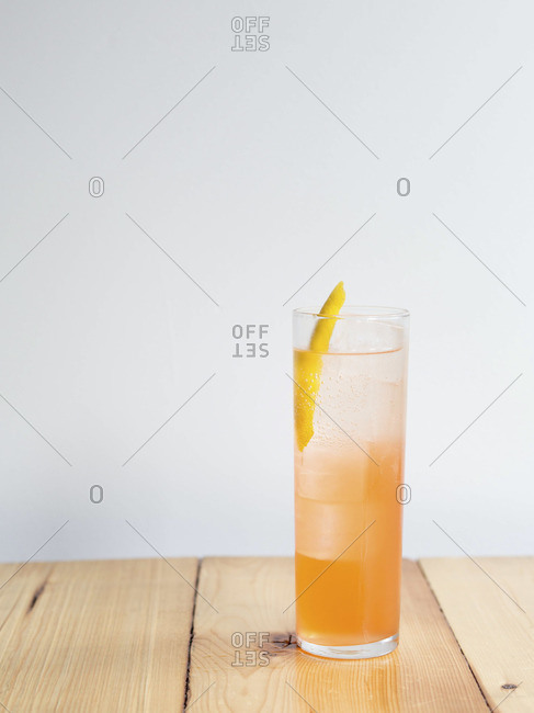Fruit cocktail on wooden table