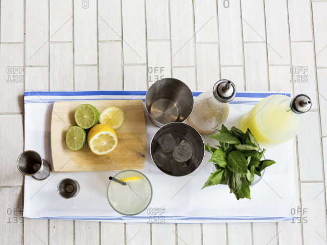 Overhead view of ingredients for making cocktails