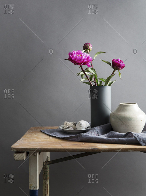 Pink Peonies in vase and shell decorations