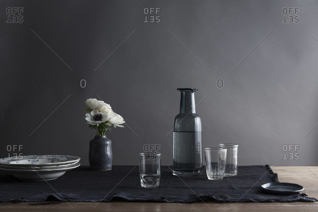 Still life of floral decoration on dining table
