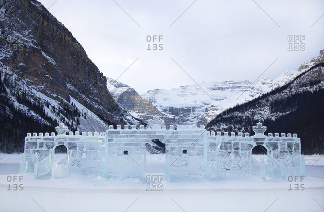 Ice sculpture on a frozen lake