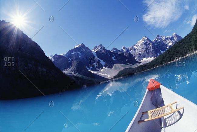 Canoeing on Lake Louise in Alberta, Canada