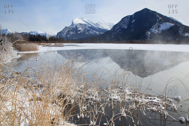 Mount Rundle seen from frozen Vermilion Lake in Banff National Park, Canada