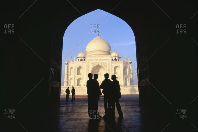Taj Mahal seen through the gate in Agra, India