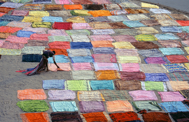 Colorful clothes drying in Agra, India