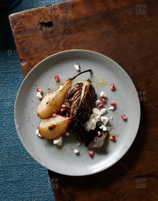 Top view of roasted pear and radicchio