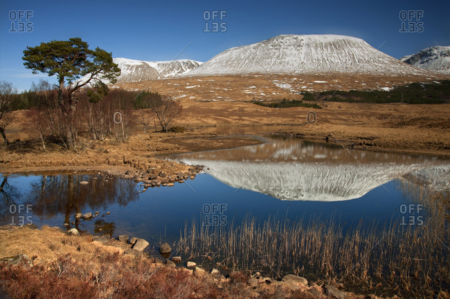 Mountains reflected on Loch Tulla at Bridge of Orchy, Scotland