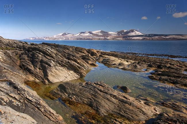 Isle of Arran from the shore of Kintyre peninsula, Scotland
