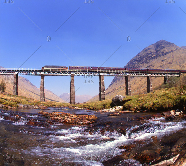 Train crossing the Horseshoe viaduct in the valley of Glen Auch, Scotland
