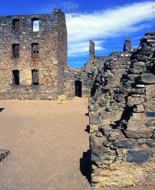 The ruins of Ruthven barracks near Kingussie, Scotland