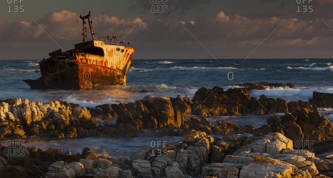 Rusting wreck off the shore of Arniston