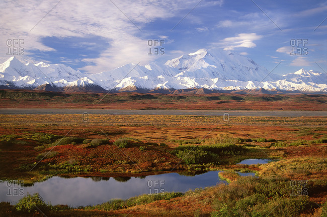 Tundra and kettle pond in Denali National Park, Alaska in the fall