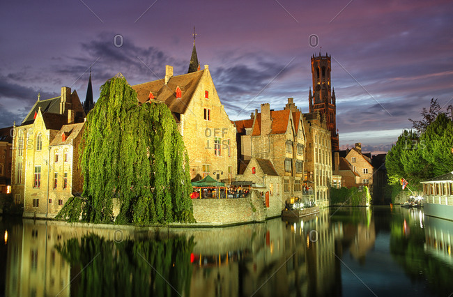 Sound and light show at night in the city of Bruges