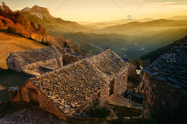 Tella the capital, in the Sobrarbe province of Huesca, Aragon, Spain town of Tella-Sin.