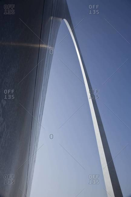 Low angle view of the Gateway Arch in St. Louis, Missouri