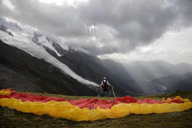 Paraglider preparing to take off