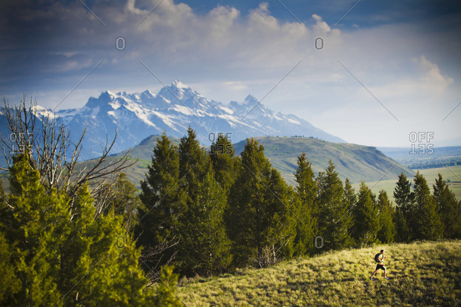 Man run in picturesque landscape