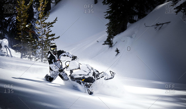 Man riding snowmobile in wild nature
