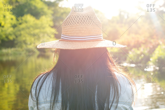 Rear view of a woman sitting in front of a lake