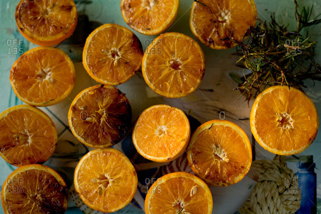 Grilled oranges with rosemary