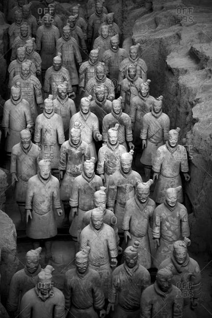 XI'AN, CHINA - OCTOBER 23, 2010: Rows of terracotta warriors