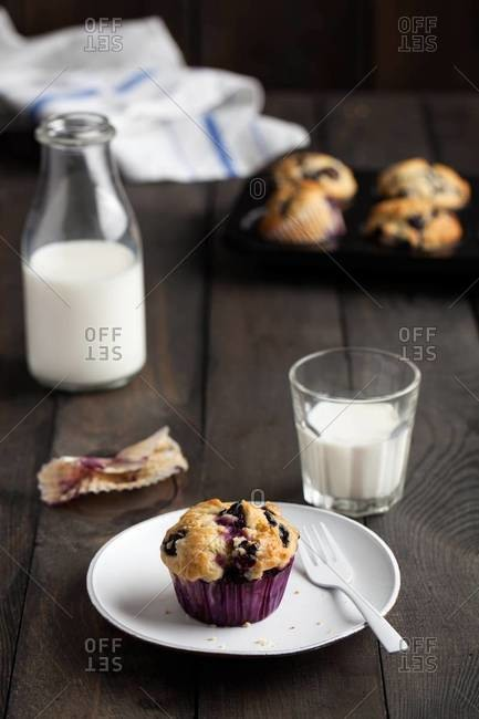 Freshly baked blueberry muffin on a white plate on dark wooden table