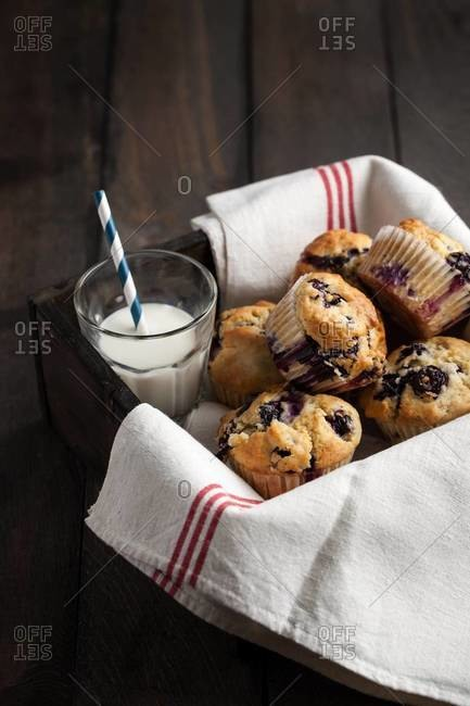 Freshly baked blueberry muffins and a glass of milk