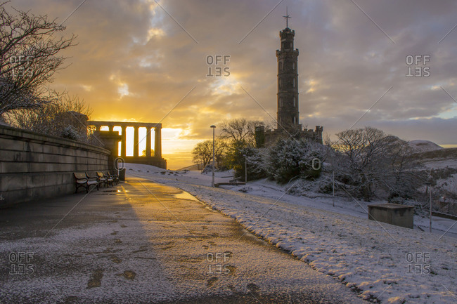 The Nelson and National Monuments on Calton Hill, Edinburgh, Scotland