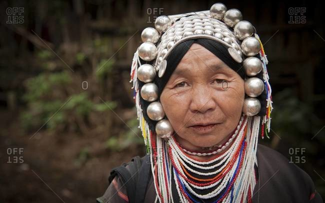 THAILAND - JANUARY 14, 2012: Portrait of an Akha hill tribe woman