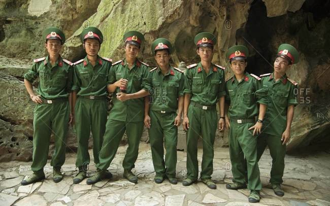 Da Nang, Vietnam - April 21,2013: Young members of the People's Army of Vietnam