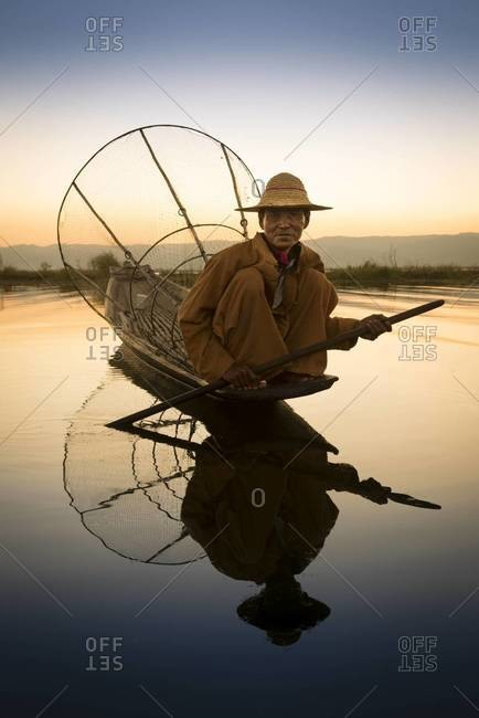 Inle Lake, Myanmar - February 2,2014: Fisherman on lake