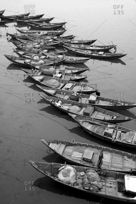 Row of small fishing boats