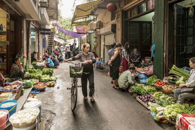 Hanoi, Vietnam - March 31,2013: Fruit and vegetable market in The Old Quarter