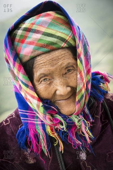 Sapa, Vietnam - April 1,2013: Portrait of an elderly Hmong woman