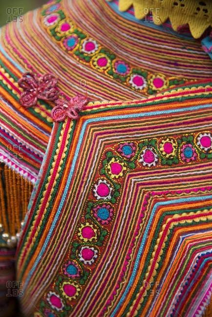 Close up of the clothing of a Flower Hmong woman, Vietnam