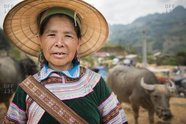 Coc Ly, Vietnam - April 5,2013: Portrait of an elderly Hmong woman