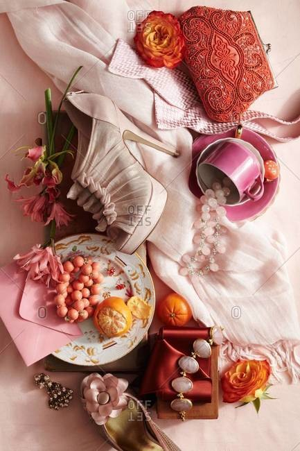 Fashion accessories and fruits arranged in composition