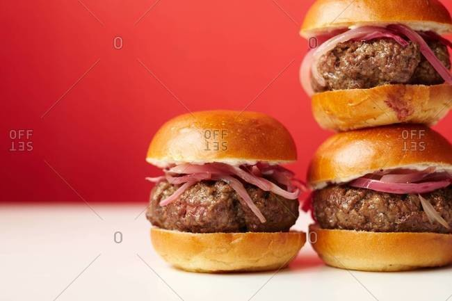 Stacked hamburgers, side view
