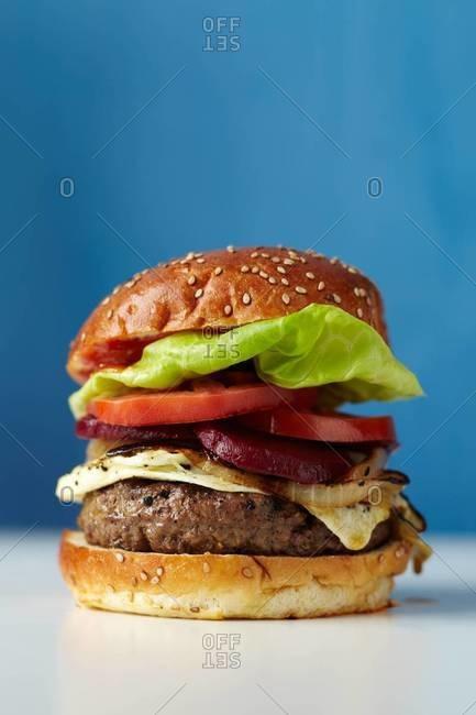 Side view of fresh hamburger