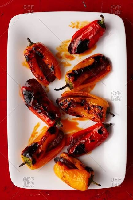 Grilled bell pepper stuffed with sausage