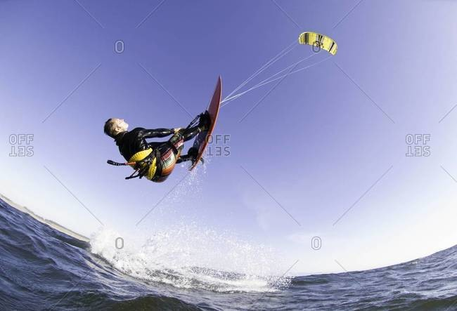 Man kite boarding